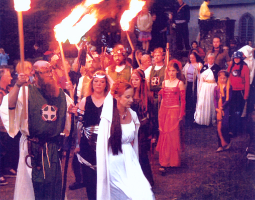 Janet leading procession at Tara Festival in Ireland 2003